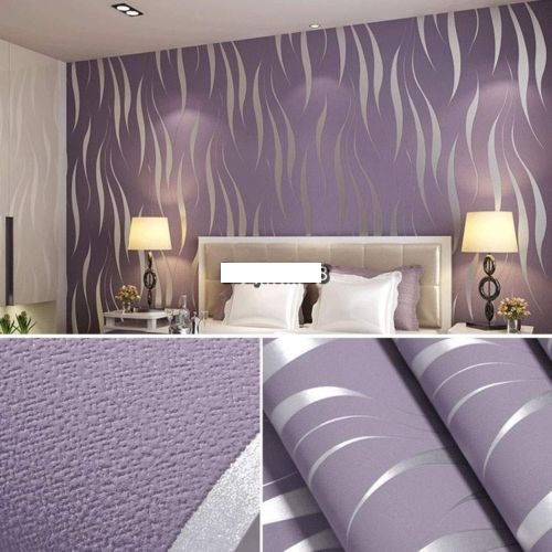 Natural roll 3d embossed flocking waves wallpaper on luulla for Papier peint 4 murs pour salon